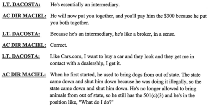 ACO Maciel lies to internal affairs claiming Odie's Place does not have a permit to pull animals form out of state.
