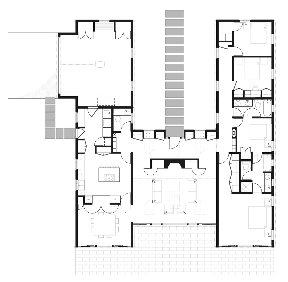 The Traditional 3-4 bedroom plan: - The bedroom and personal space side of the house is the same as described above, but the entertaining space has a more traditional kitchen layout, a separate dining room and a pass through between the kitchen and dining room.