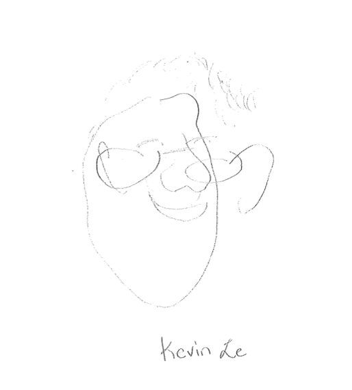 Another team member's drawing of Kevin without looking at the paper.