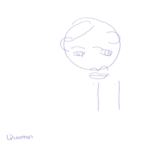 Another team member's drawing of Quinton without looking at the paper.