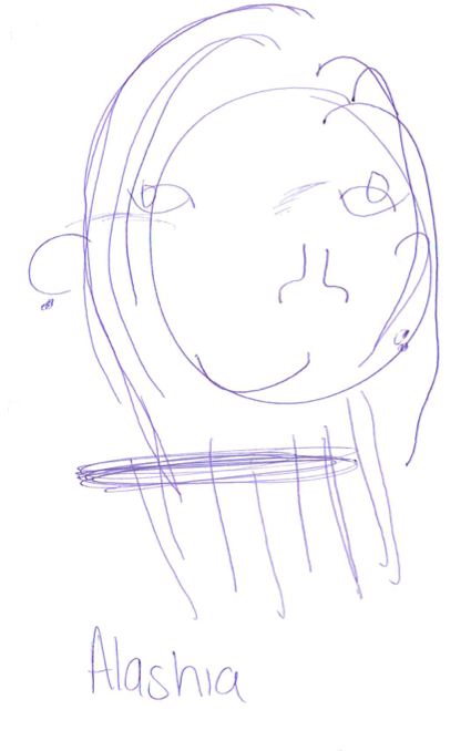 Another team member's drawing of Alashia without looking at the paper.