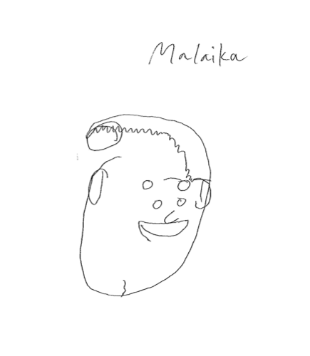 Another team member's drawing of Malaika without looking at the paper.