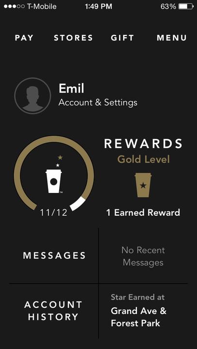 Emil Beckford's Starbucks Reward account through the phone app.