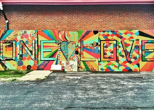 The 'One Love' mural created by the Ferguson Community Photo By: Alie Flowers