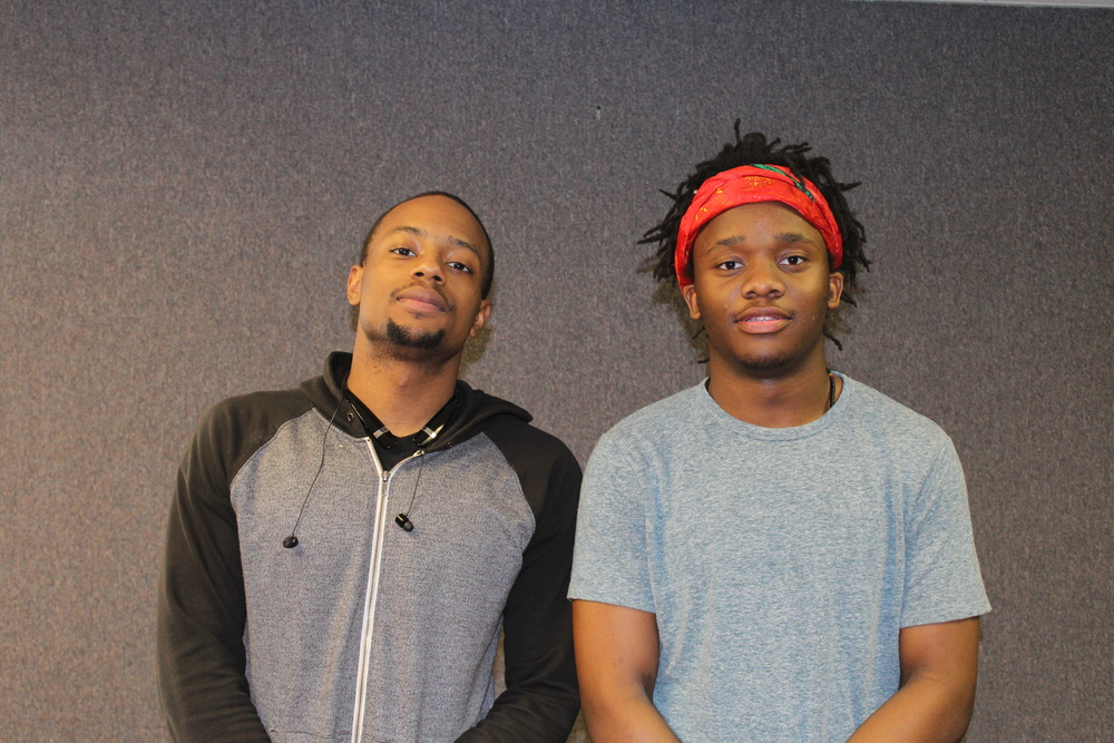 DJ Twinny Twin (left) and OTM intern Tubias Johnson (right)