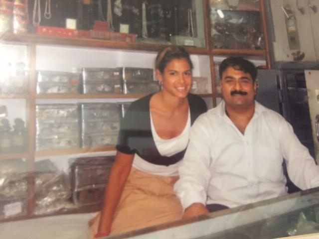 Dr. Ruelas with mala maker for Ashramchic.