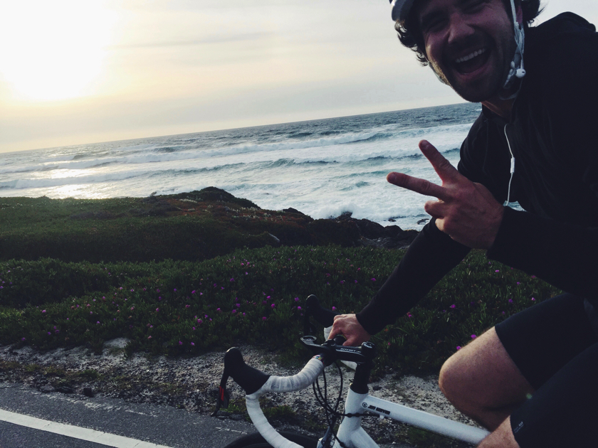Chef Gabe takes a sunset spin along the California Coast after finishing service at Sea Otter Festival in Monterrey, California.