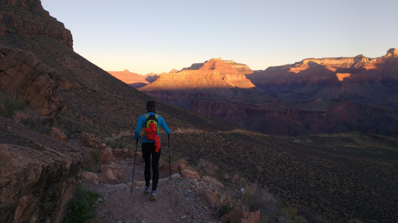Naomi finds tranquility running during training in the Grand Canyon.