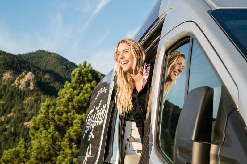 TA Lauren Gregg starts a new day of adventure - in her van - every morning.