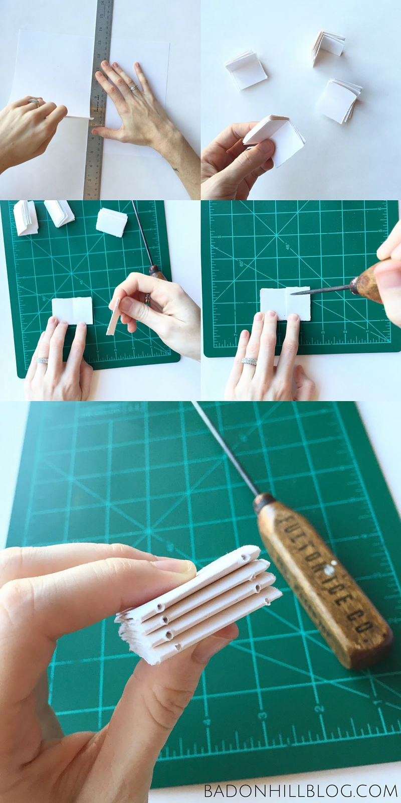 Tutorial: How to Make a Tiny Leather Book Necklace by the Badon Hill Blog - Preparing the Paper