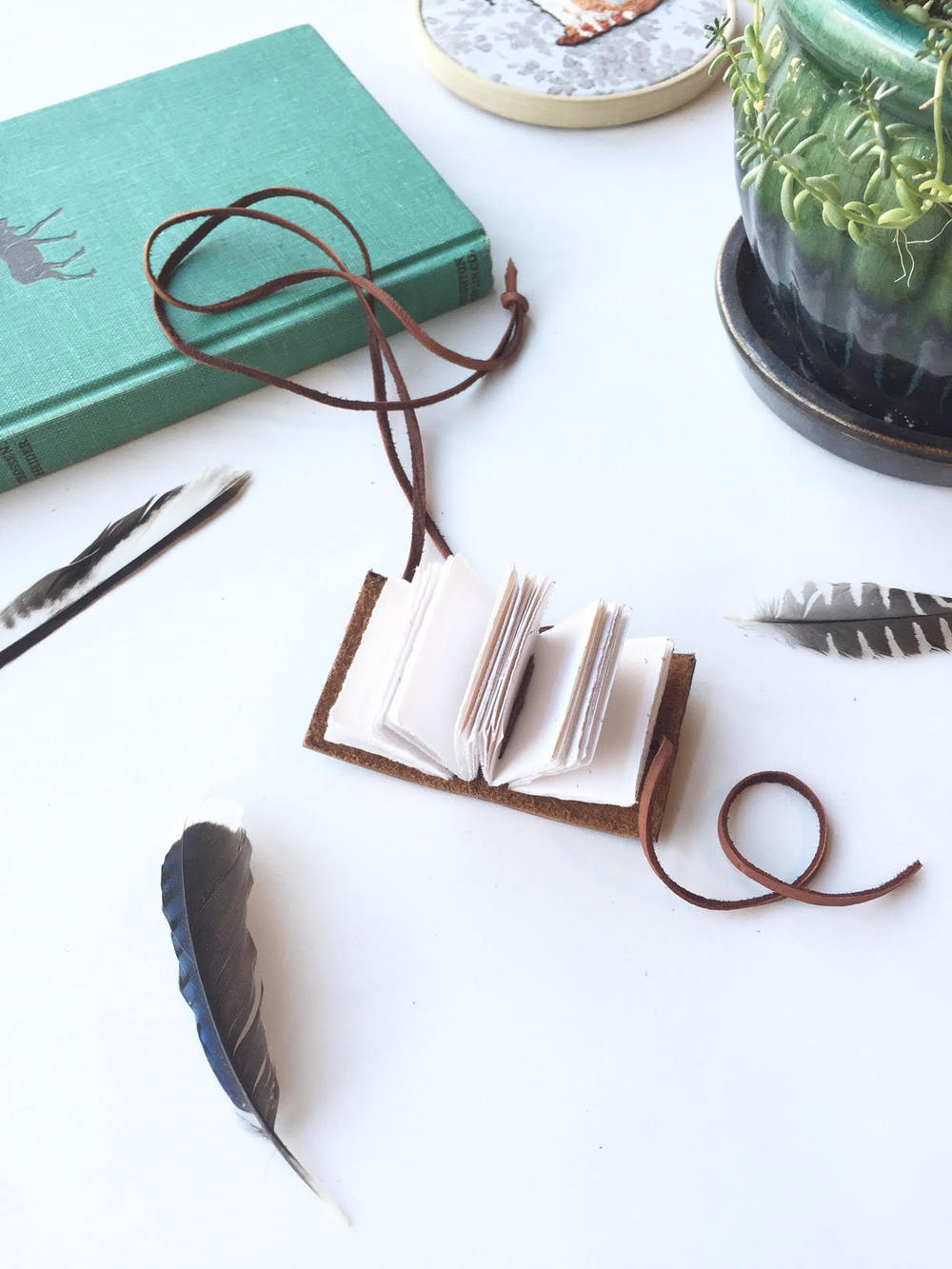Tutorial: How to Make a Tiny Leather Book Necklace - by the Badon Hill Blog