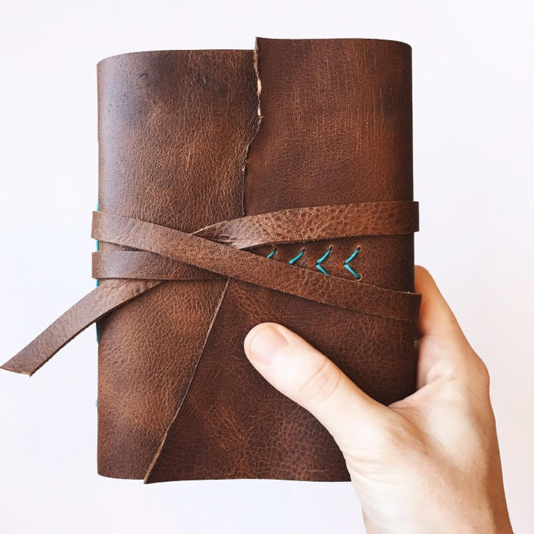 Brown and Teal Handmade Leather Journal by Badon Hill