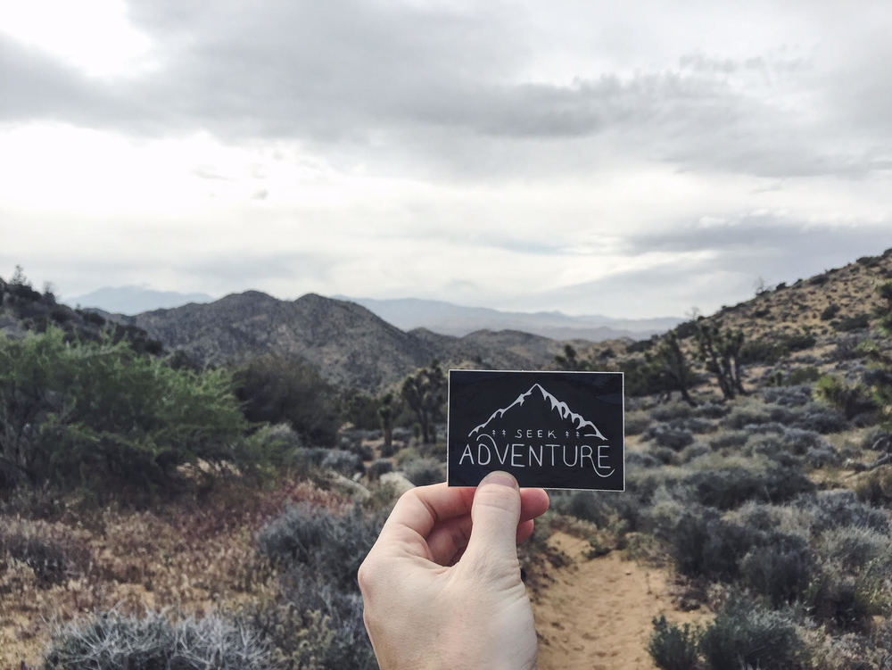 "My ""Seek Adventure"" sticker in Joshua Tree National Park - get yours here!"