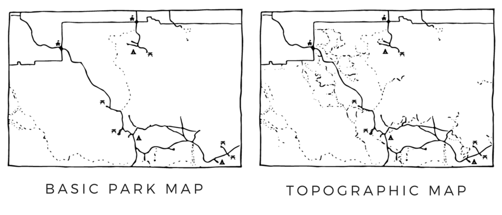 Comparison of Detail in a Basic Park Map vs. a Topographic Map