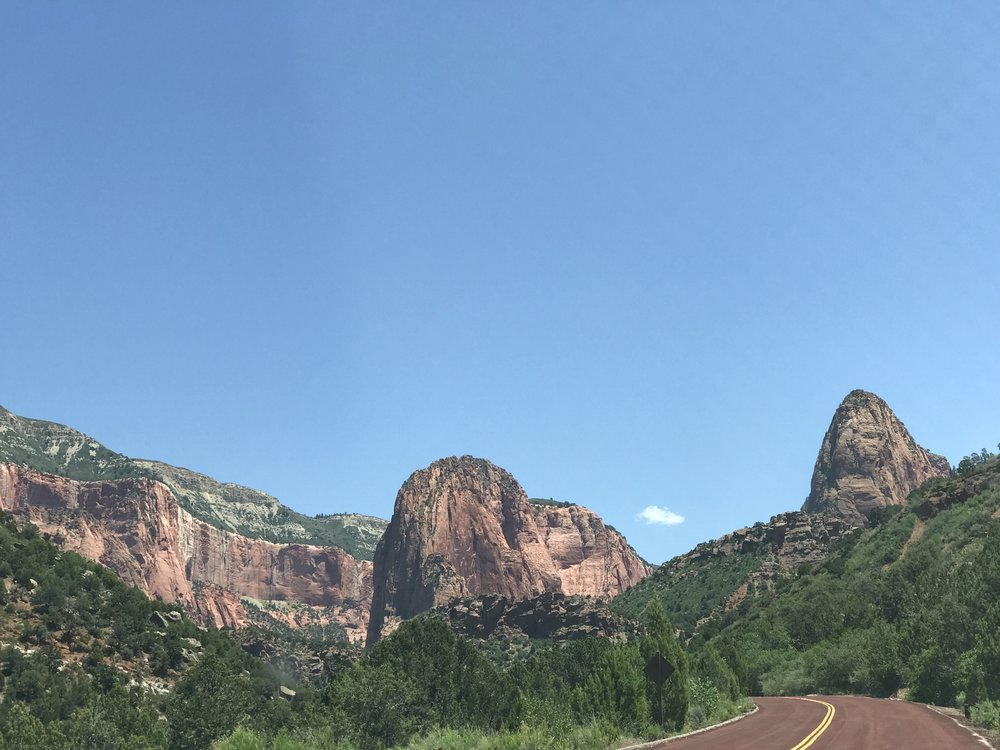 The road in the Kolob Canyons area of Zion National Park