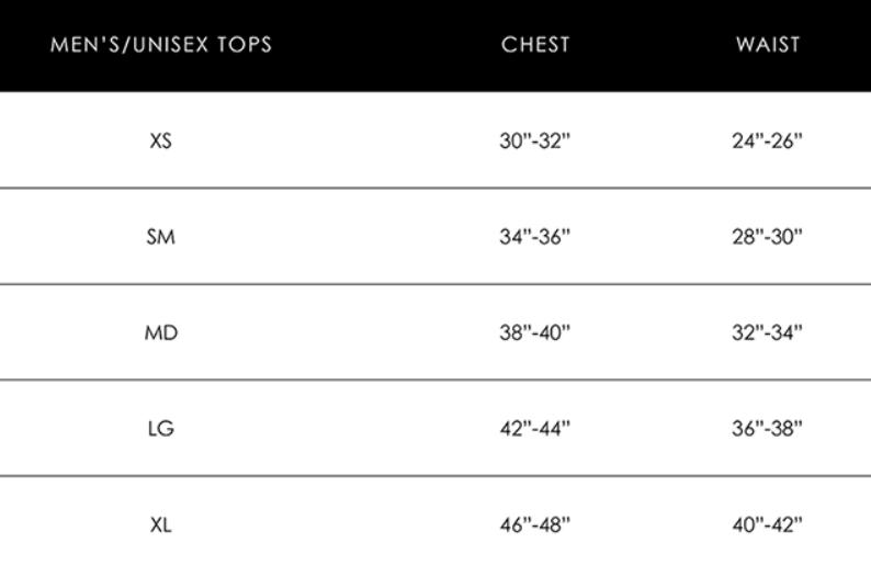 Unisex Size Chart - Dear Summit Supply Co.