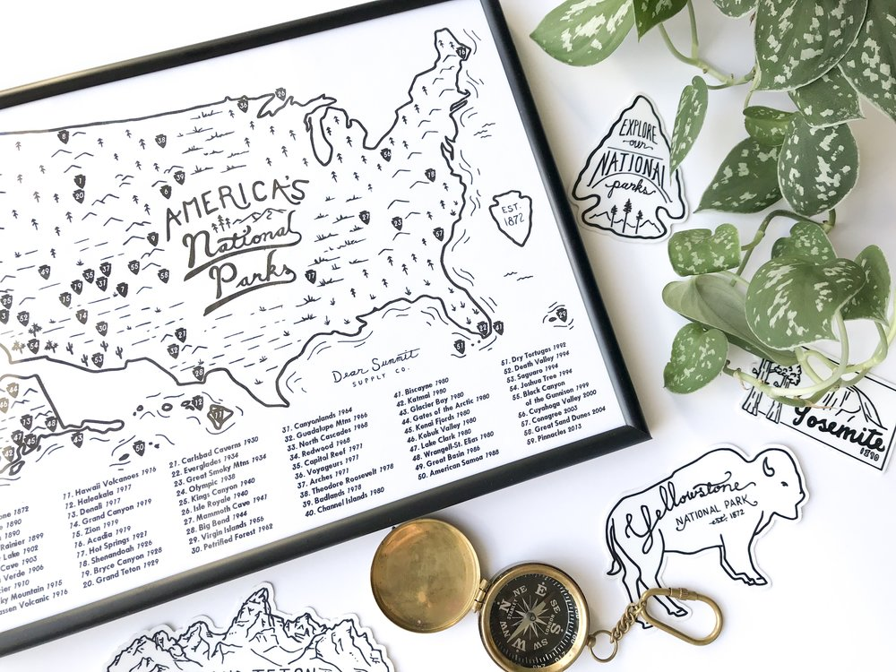 National Parks Map by Dear Summit Supply Co.