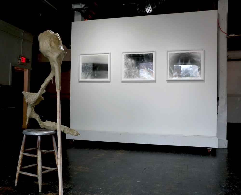 L to R: Andrew Boatright, Untitled, 2014; Stephanie Dowda, Sense of Past, 2014; Dowda, Sense of Breaking Apart, 2013; Dowda, We are the Lightning, 2013