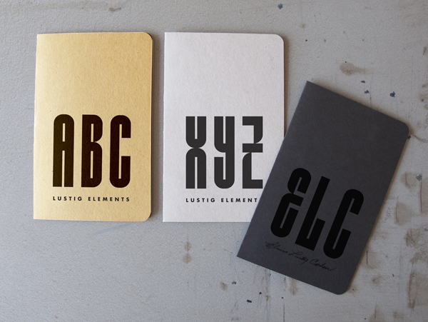 Typeface samples reading ABC, XYZ, ELC