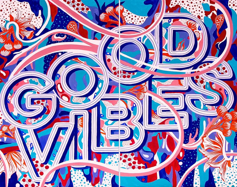 Art by Gemma O'Brien that reads Good Vibes