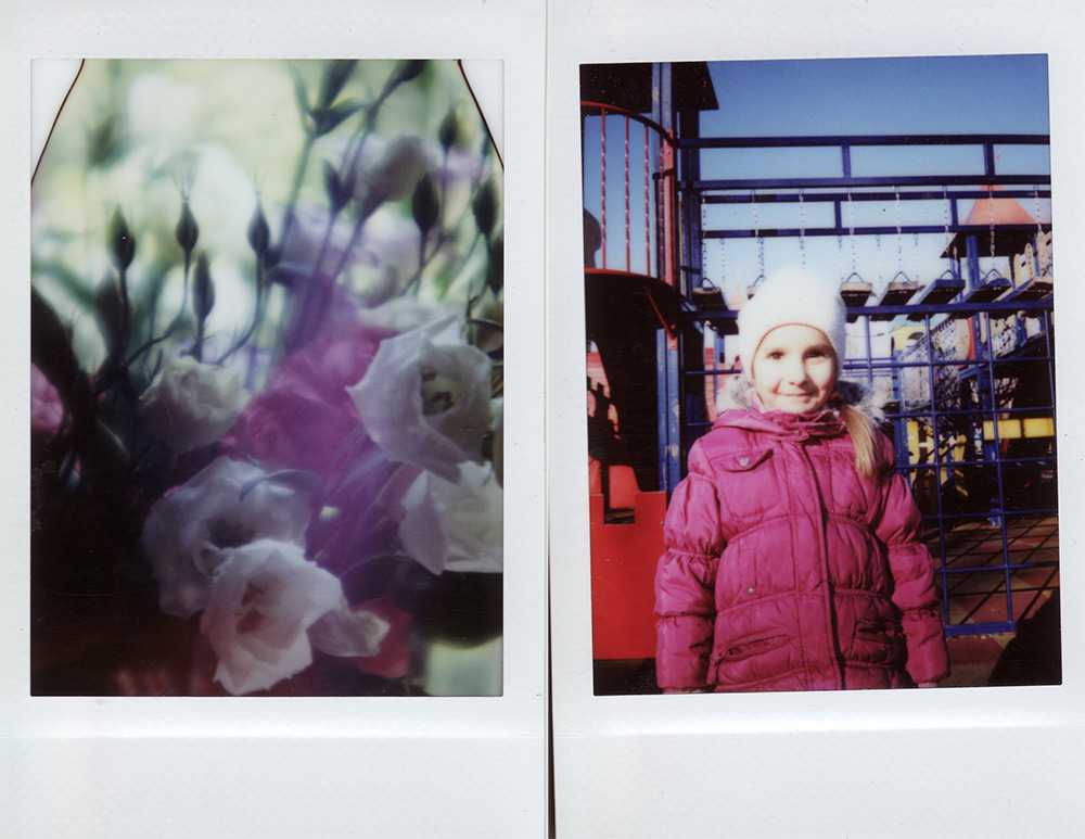 Photographs of a flower, and a girl next to a play structure