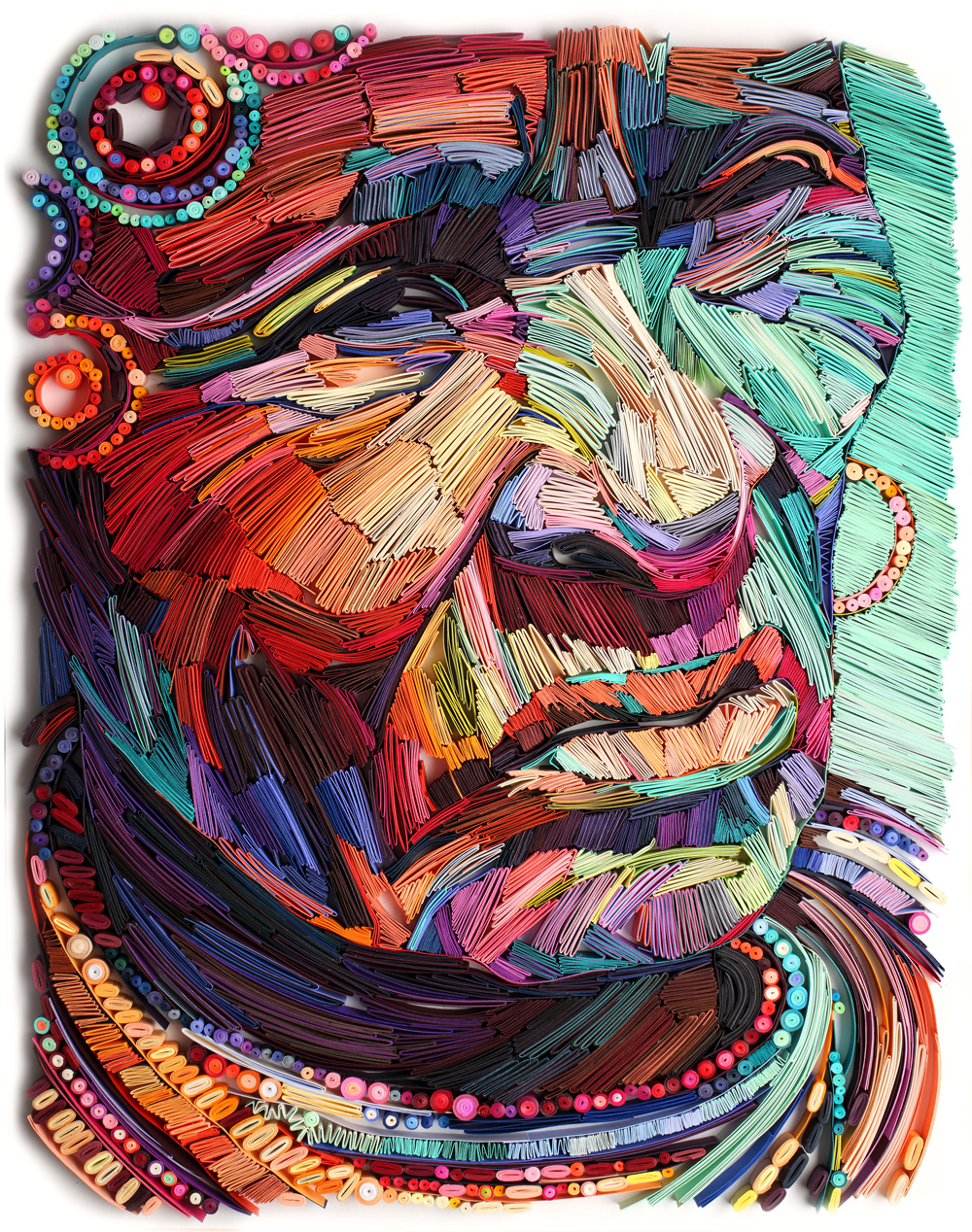 multicolored artistic drawing of a face