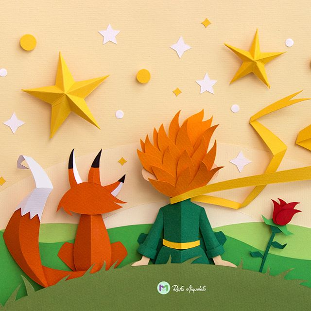Beautiful art from @rafamiqueleto to create this out of paper! It's called Le Petit Prince, and was commissioned after the Little Prince movie. Swipe to see the craftsmanship and process. 🦊🌹 Shoutout to @abduzeedo for posting a story about this on his blog. 🎨 #artwork #paperart #craftsmanship #artistsofinstagram