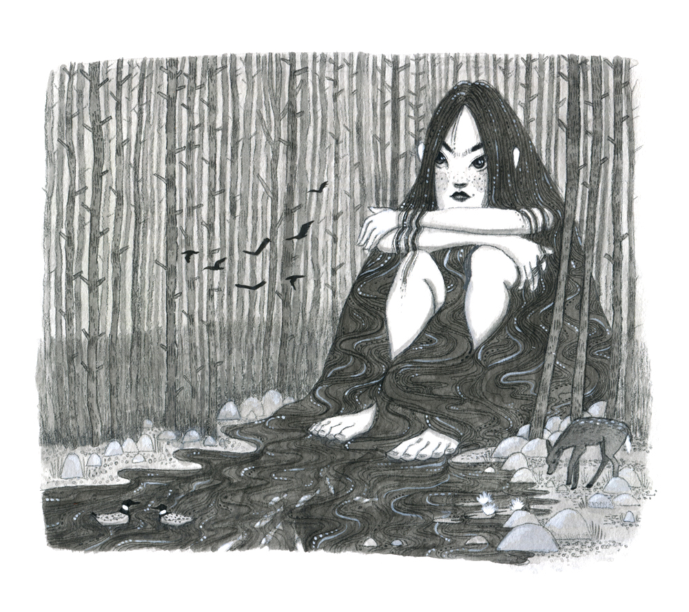 """Below the Surface She Waits"", Personal Work, Gouache"