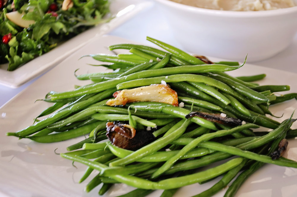 Pear-Pomegranate Salad, Creamy Mashed Potatoes & Haricot Verts Roasted Shallots & Fennel