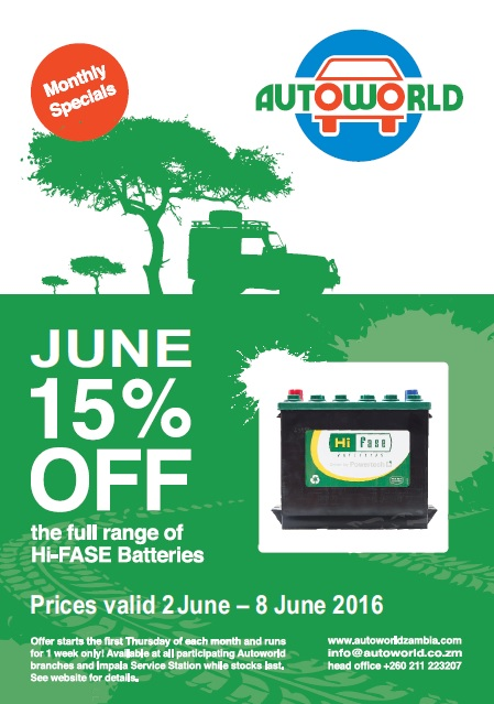 June monthly special - 15% off Hi-FASE batteries — Autoworld