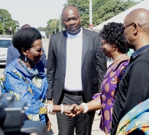 Vice President Inonge Wina being welcomed by 1st Deputy speaker of the National Assembly Catherine Namugala at the freedom statue, while Lusaka Province Minister Bowman Lusambo looks on. Photo courtesy Lusaka Times