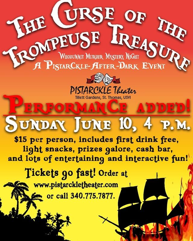 Only 25 tickets left for our Pirate Murder Mystery! And our secret is out-- our secret guest star is @captainjohnusvi of the @piratestreasuremuseumusvi ! Buy tickets at www.tinyurl.com/mysterycurse #murdermystery #pirates #stthomas #tillettgardens #usvi #stjohn #theater #theatre #actorslife #newplay #newplaywright #directorslife #piratesofthecaribbean #artsandculture