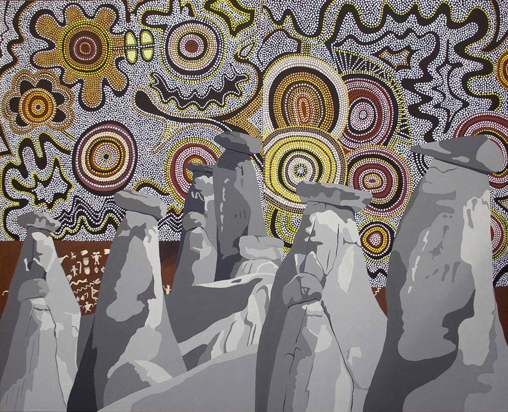 "Rock Tribe, acrylic on canvas, 60"" x 72"", 2013"