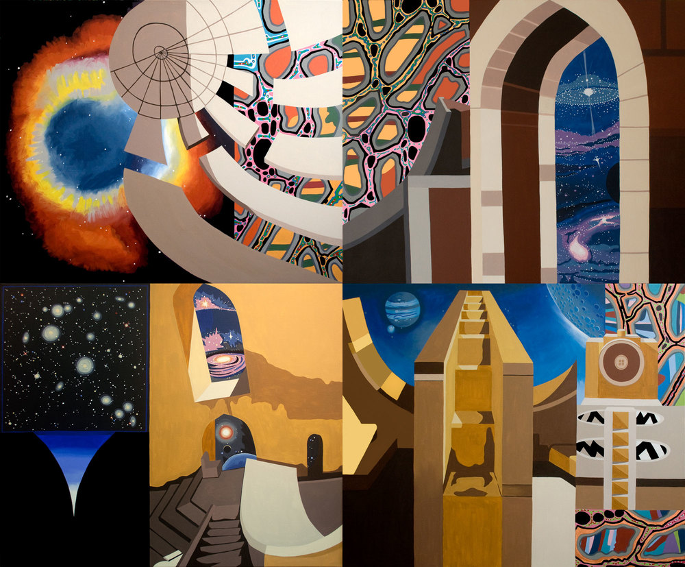 "Astronomical Monuments, acrylic on canvas, 72"" x 88"", 2012"