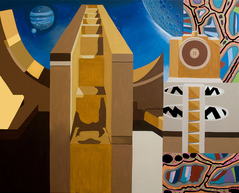 "Universal Staircase, acrylic on canvas, 36"" x 44"", 2012"