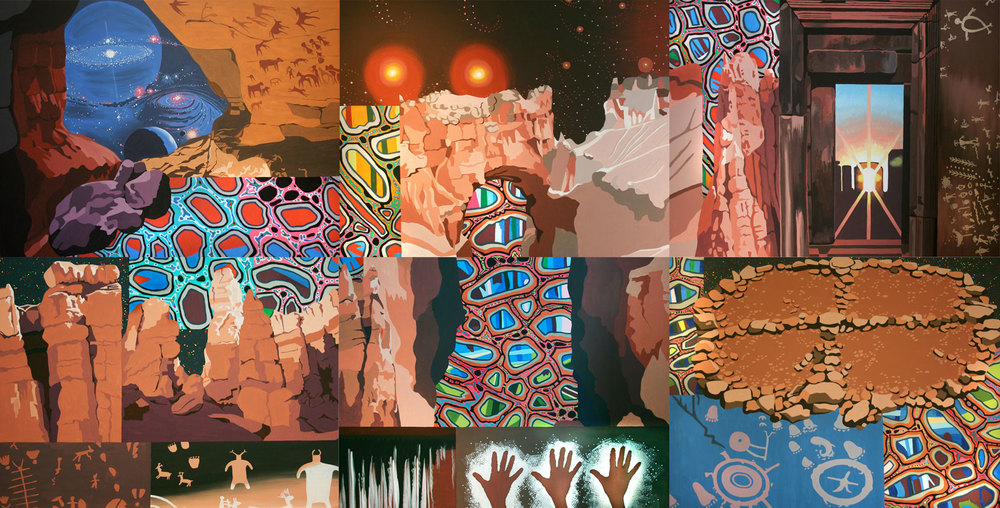"Ancestral Journeys, acrylic on canvas, 72"" x 144"", 2010"
