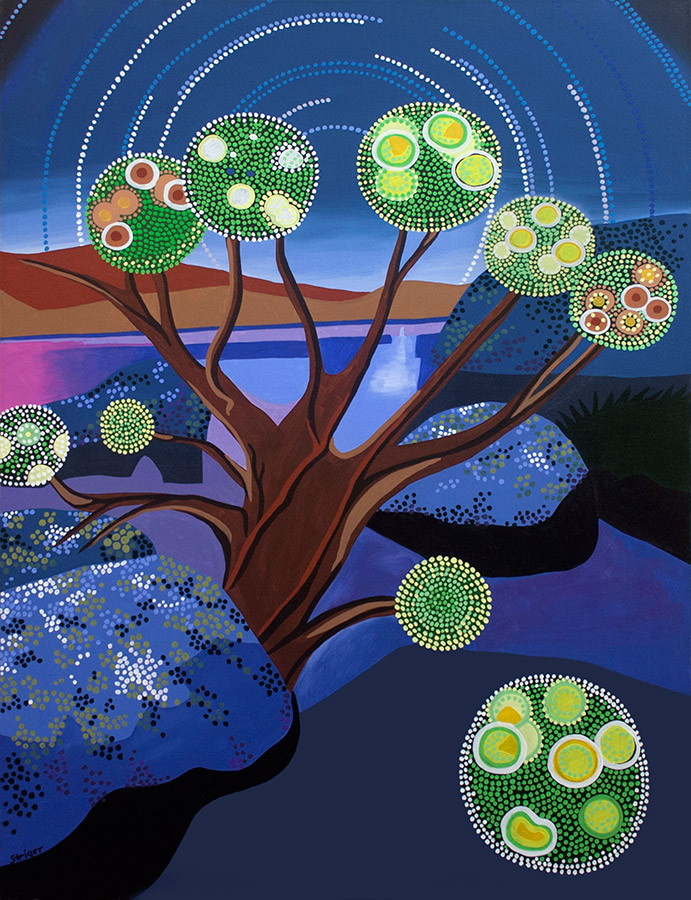 "Jewel Tree of Life, acrylic on canvas, 40"" x 30"", 2006"