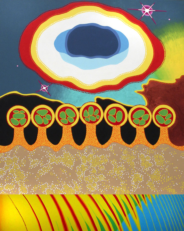 "Cosmic Microcosms, acrylic on canvas, 60"" x 48"", 2005"