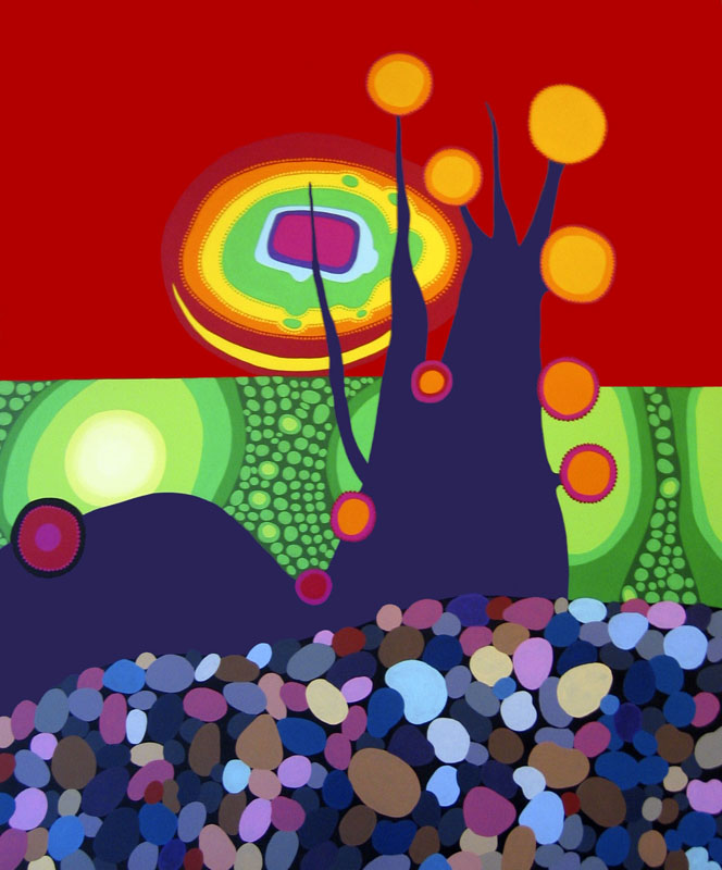 "Jewel Tree in a Field of Rocks, acrylic on canvas, 72"" x 60"", 2005"