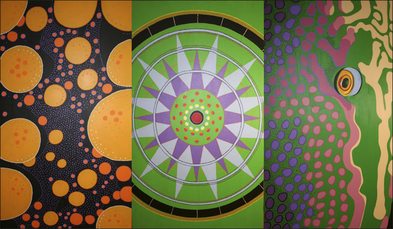 "Mandala of Creation, acrylic on canvas, 60"" x 108"", 2005"