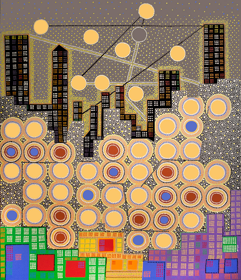 "City #2, acrylic on canvas, 72"" x 60"", 2003"
