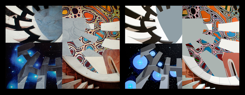 Mirror the Cosmos, collage on paper (Left) and acrylic on canvas (Right)