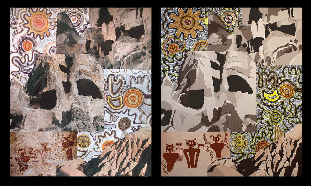 Contemplating the Caves, collage on paper (Left) and acrylic on canvas (Right)