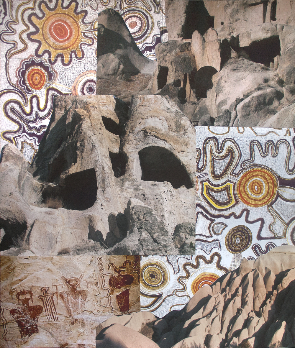 "Contemplating the Caves, collage on paper, 18"" x 15"", 2013"
