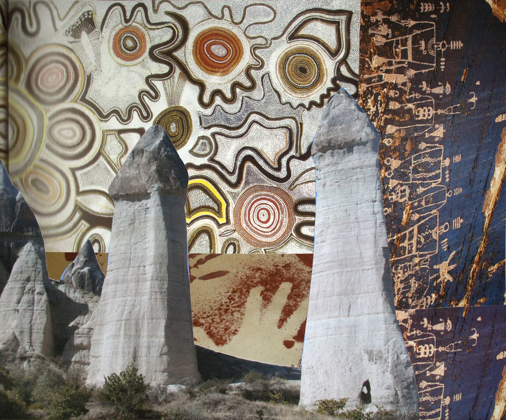 "Love Valley II, collage on paper, 10"" x 12"", 2013"