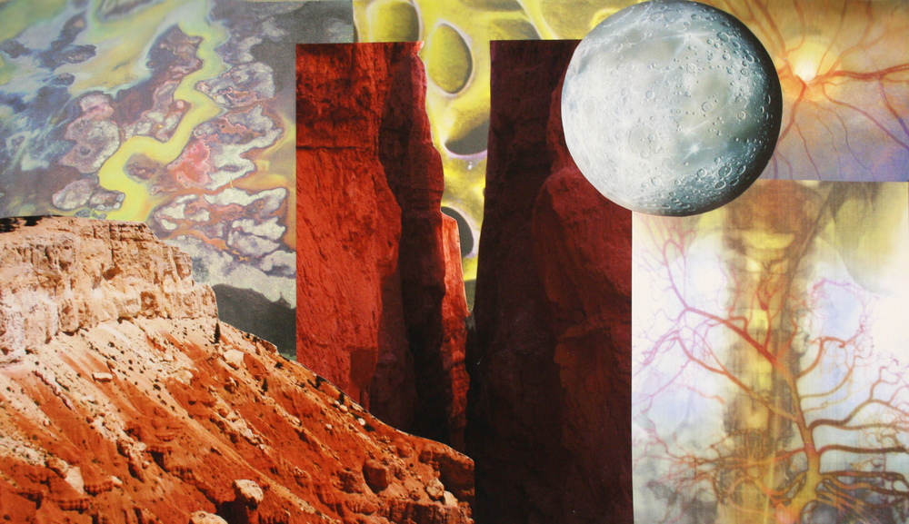 Sunrise Over Monoliths, collage on paper, 12'' x 20.5'', 2009