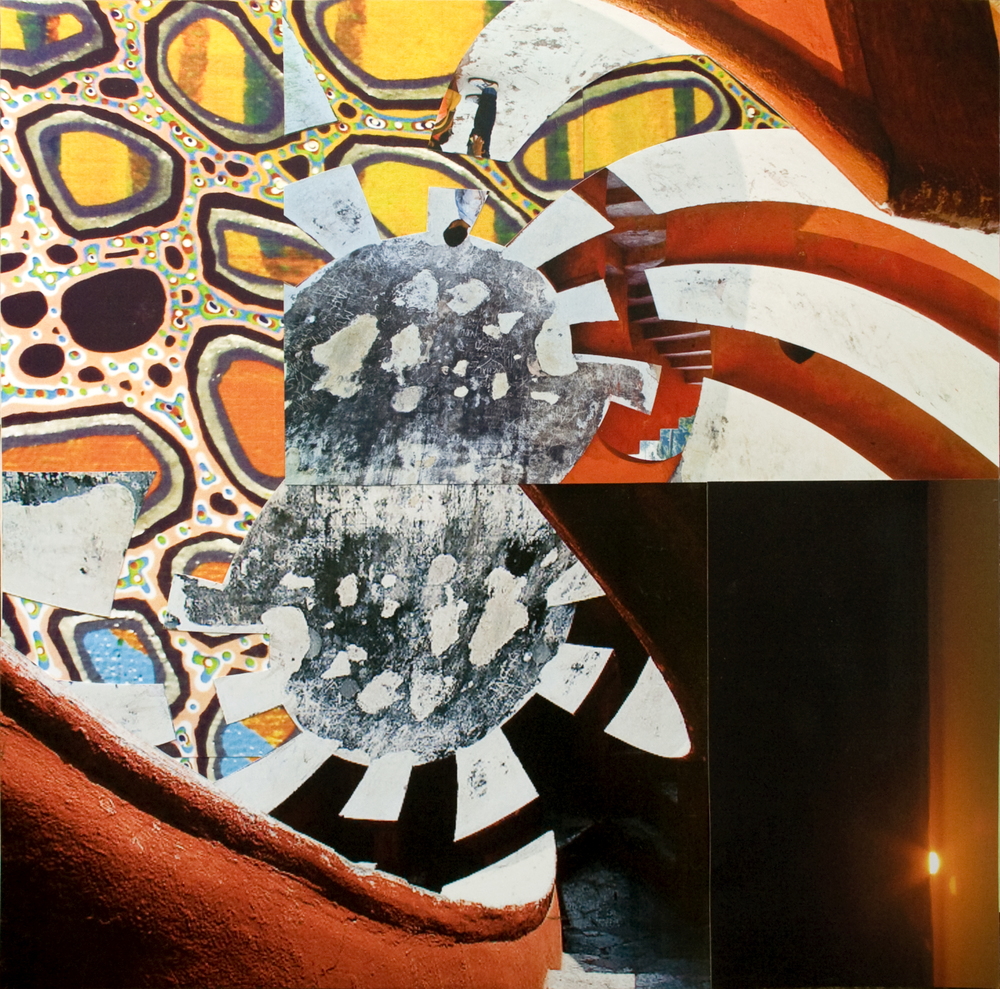 "Sunrise Over Swirling Yantras, collage on paper, 14"" x 14"", 2012"