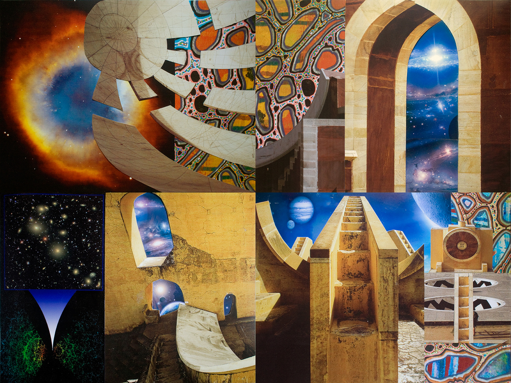 "Astronomical Monuments, collage on paper, 18"" x 24"", 2011"