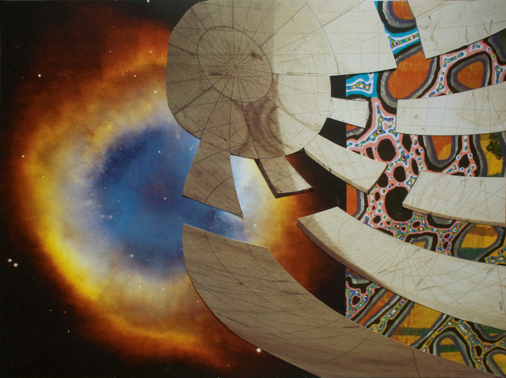 "Swirling Yantra, collage on paper, 9"" x 12"", 2011"