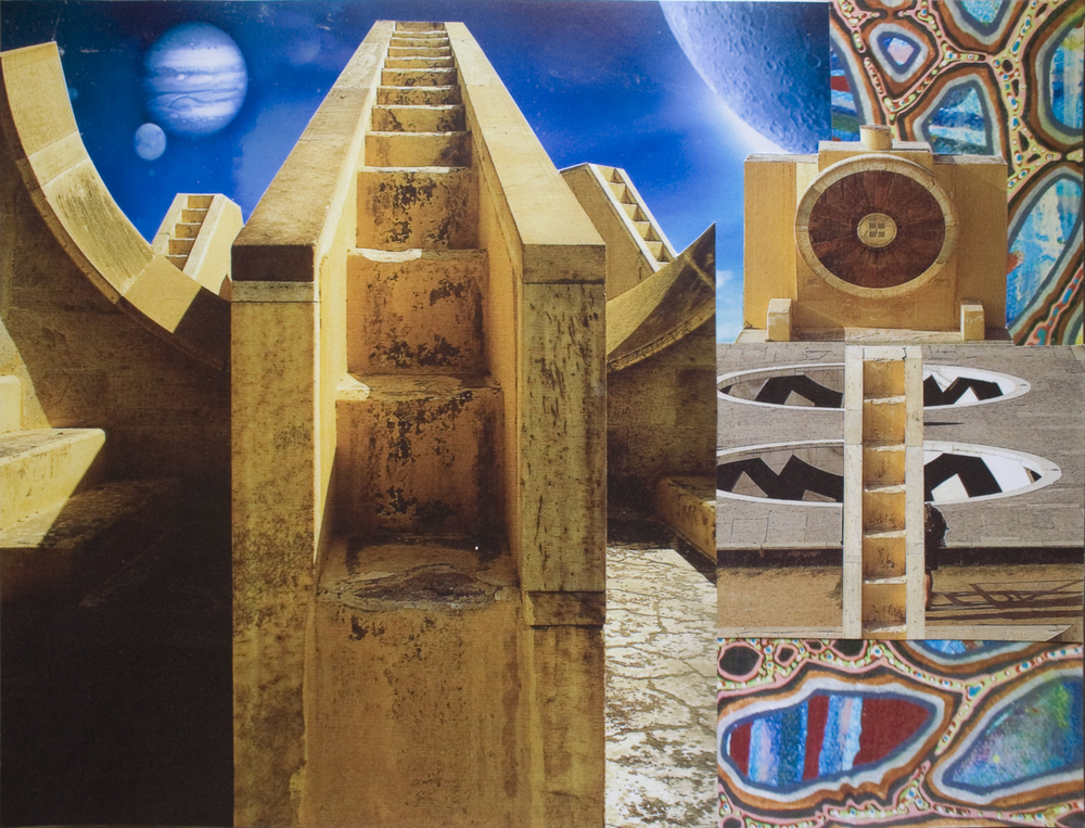"Universal Staircase, collage on paper, 9"" x 12"", 2011"